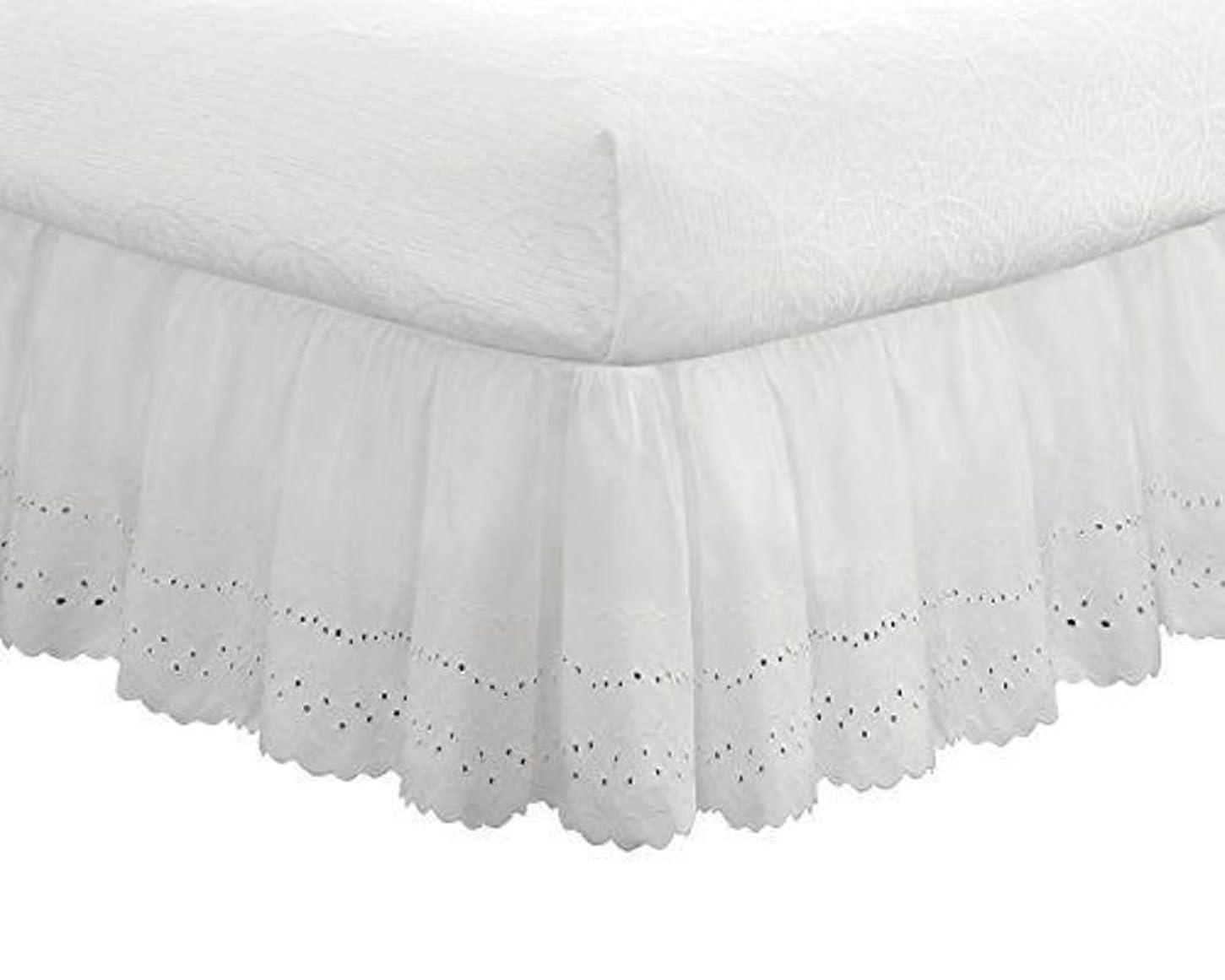 キウイ起きてスティック刺繍のベッド スカート,弾性 ポリエステル ベッドの周りをラップ 1 ベッドスカート, 耐フェード しわ 簡単なケア ベッドスカート- 200x220x38cm