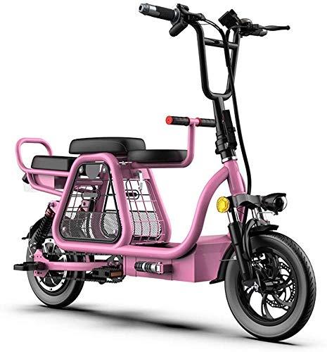 Haojie Bicicleta eléctrica eléctrica de Tres Personas con Asiento para niños, Cesta de Almacenamiento, neumáticos de 12 Pulgadas, Pantalla LCD, Tres Modos de Potencia,A,20A