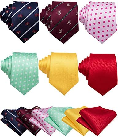Barry Wang Men Dot Tie Silk Necktie With Tie Clip Jacquard Woven Design Neck Ties 6PCS Party product image