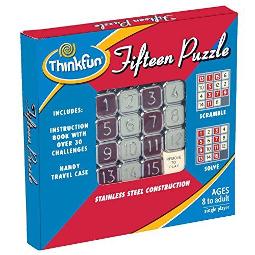 ThinkFun Fifteen Puzzle - Classic Puzzle Game, Perfect for Travel, Can Fit in Your Pocket For Age 8 and Up