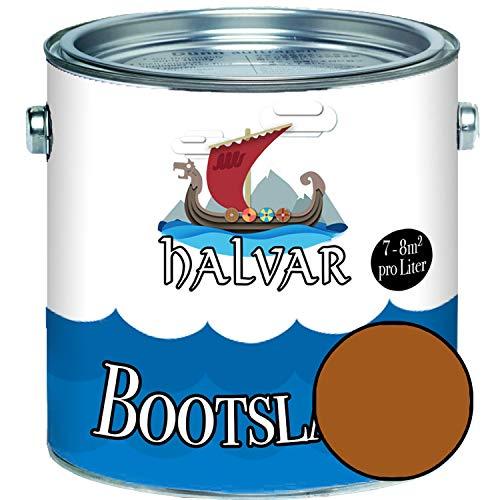 Halvar Bootslack Braun RAL 8000-8028 Yachtlack SEIDENMATT Bootsfarbe PU-verstärkt für Holz & Metall verstärkt extrem belastbar hochelastisch Schiffslackierung (1 L, RAL 8023 Orangebraun)