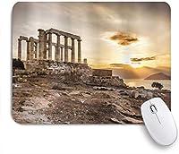 KAPANOUマウスパッド 夕焼けの海と曇り空の柱ギリシャ建築ポセイドンデジタル画像印刷 ゲーミング オフィス おしゃれ 良い 滑り止めゴム底 ゲーミングなど適用 マウス 用ノートブックコンピュータマウスマット