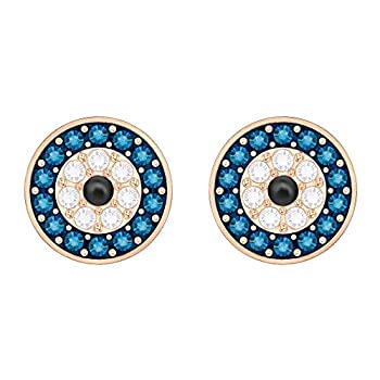 Swarovski Luckily Women s Evil Eye Stud Earrings Clear Blue and Black Crystals with a Rose-Gold Tone Plated Setting
