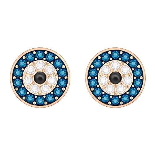 Swarovski Orecchini Luckily Evil Eye, blu, placcato oro rosa