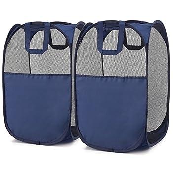 Pop-Up Hamper Magicfly Foldable Pop-Up Mesh Hamper with Reinforced Carry Handles Laundry Mesh Basket Blue Pack of 2