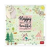 Legami - Calendario 2021 de pared, Happy, 18 x 18 cm.