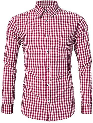 KOJOOIN Trachtenhemd Slim fit Herren kariert Hemd Freizeithemd Langarmhemd Hemd Bestickt Baumwolle - für Oktoberfest, Karneval, Business, Freizeit(Verpackung MEHRWEG)
