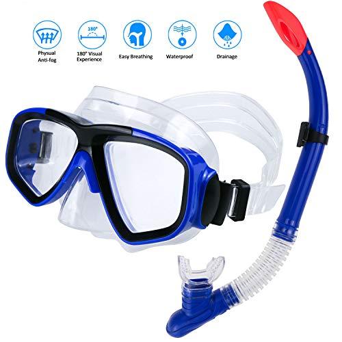 Máscara de Snorkeling y Buceo, Máscara de Buceo Snorkel Set Máscara de Esnórquel con Máscara Antivaho y Snorkel Seco, Unisex Adulto (Style 2)