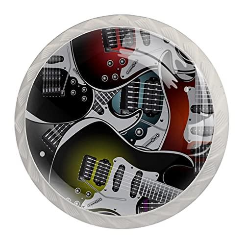 FURINKAZAN Pomo de gabinete tirador colorido Guitarras eléctricas Rock Music Stringed Instruments 4-Pack Cocina Armario Puerta Cajón