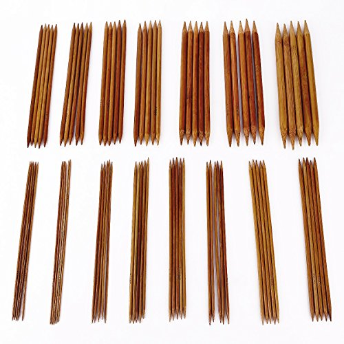 Surepromise 75 Stück Stricknadeln Set Bambus Nadelspiel Bambusstricknadeln in 15 Größen (2.0-10.0mm) Doppelspitzig (20cm Lang)