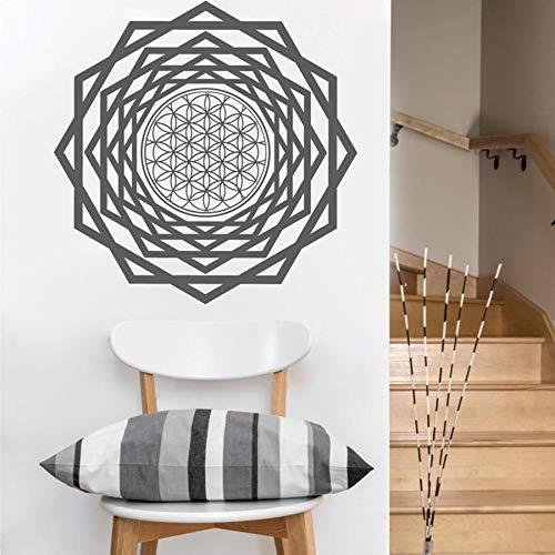 Creativo flor de la vida túnel vinilo pared pegatina geometría sagrada arte pegatina Mandala pared pegatina Mural A6 57X57CM