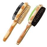 2 cepillos de doble cara para perros, de limewie, cepillo de bambú para perros, cepillo de masaje para mascotas, cepillo de pelo suelto y...