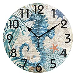 Naanle Vintage Nautical Sea Horse Starfish Old Map Round Wall Clock, 9.5 Inch Battery Operated Quartz Analog Quiet Desk Clock for Home,Office,School