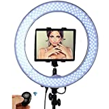 "Socialite Ring Light - 19"" Dimmable LED Lighting Kit w/Travel Bag for YouTube, Webinar, Social Media Photos - Remote Controlled Studio Lights w/ 6ft Stand - Works w/DSLR Camera, Smartphones & iPad"