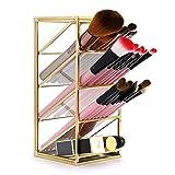 Sumnacon Organizador de escritorio de metal dorado vintage para lápices, brochas de maquillaje, 4 compartimentos