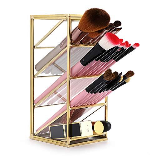 Sumnacon Schreibtisch-Organizer/Make-up-Pinsel-Halter aus Metall, Vintage, goldfarben, mit 4 Fächern