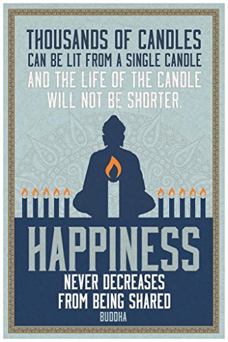 Thousands of Candles Happiness Famous Motivational Inspirational Quote Buddha Cool Wall Decor Art Print Poster 24x36