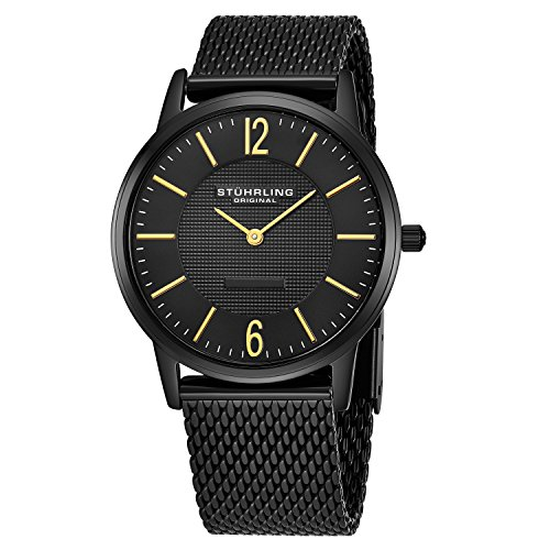 Stührling Original 122.33551 - Reloj analógico para Hombre, Correa de Acero Inoxidable, Color Negro