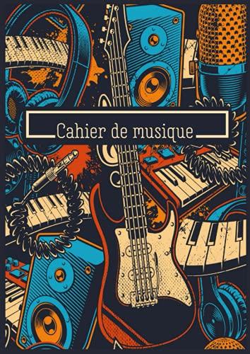 Cahier de musique: Carnet de partitions - Composition Musicale - 14 portées par page - 118 pages - Format A4 - Studio d'Enregistrement - Guitare - Micro - Casque - Piano