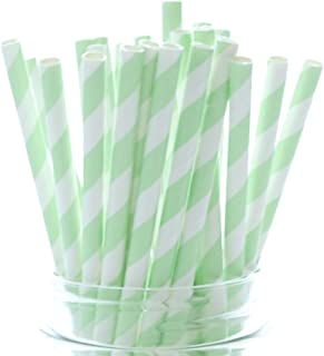 Mint Green Party Straws - 25 Pack - Pastel Color Wedding Supplies, Light Green Paper Drinking Straws, Mint Green Striped Straws
