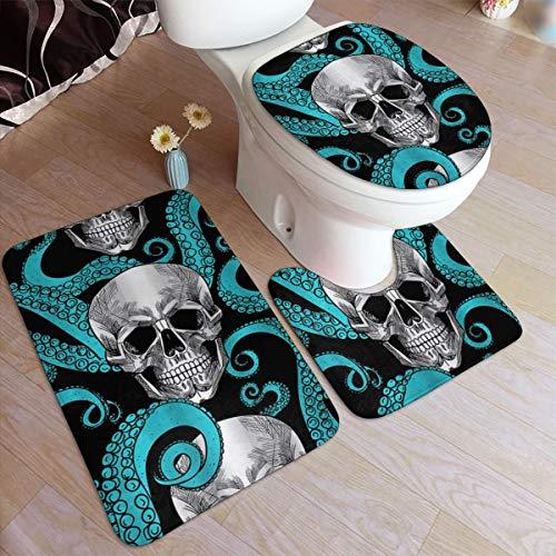 HOUYAN Bathroom Rugs Sets 3 Pieces Blue Octopus Kraken Sugar Skull Bath Contour Mat Toilet Lid Cover U Shaped Nonslip Home Washroom Decor Shower Accessories