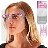 TCP Global Salon World Safety Face Shields with Pink Glasses Frames (Pack of 10) - Ultra Clear Protective Full Face Shields to Protect Eyes, Nose, Mouth - Anti-Fog PET Plastic, Goggles