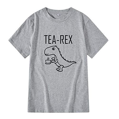 CHWEI Knitted Hat T-Shirt 100% Baumwolle Männer Frauen Lässig Kurzarm Cool Lustig Dinosaurier Drucken Männer T-Shirt O-Ausschnitt Gestrickt Bequemen Stoff-E_L