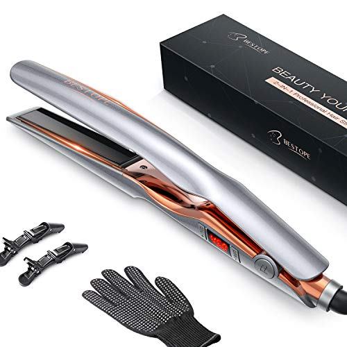 Hair Straightener, BESTOPE 1 Inch Flat Iron for Hair with Adjustable Temp Ceramic Tourmaline Straightening & Curls for Healthy Styling Curling Iron for All Hair Type