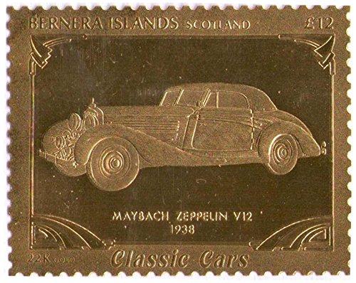 Isole Bernera Scotland : Classic Cars - Maybach Zeppelin V12 1938 / foglia oro bollo/perforato Valore nominale £ 12/1987 / Bernera/MNH