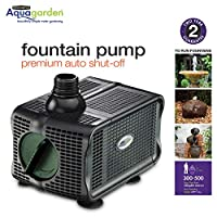 Pennington Aqugarden, Premium Auto Shut-Off Fountain Pump, Suitable for Garden Fountains, Water Features, Aquapoincs & Hydroponics, 300-500 Gallon Model