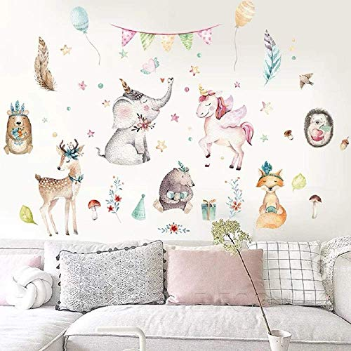 ClassicSpirit Wandsticker Wandtattoo Wandbild | Waldtiere Märchen Einhorn Fuchs Reh Pferd Vogel Igel Bär Elefant | Dekoration Traumwelt für Mädchen Jungs Kinder-Zimmer Baby-Zimmer