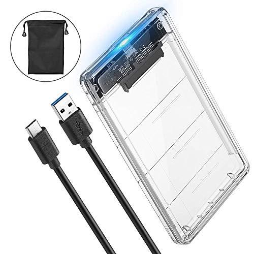 POSUGEAR Festplattengehäuse 2.5 Zoll USB C Gen 2 (6Gbps), Externes festplatten Gehäuse für 9.5mm 7mm 2.5 Zoll SATA I/II/III SSD HDD, Werkzeugfreie Montage, UASP Beschleunigung [Transparent]