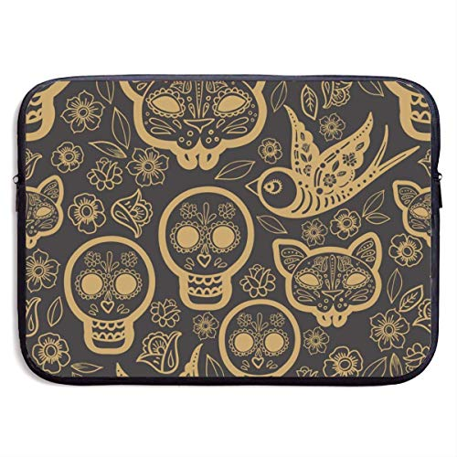 Laptop Sleeve Case Protective Padded Zipper Cover Gold Day of The DEA,Water-Resistant Neoprene Notebook Computer Pocket Tablet Briefcase Carrying Bag/Pouch Skin Cover