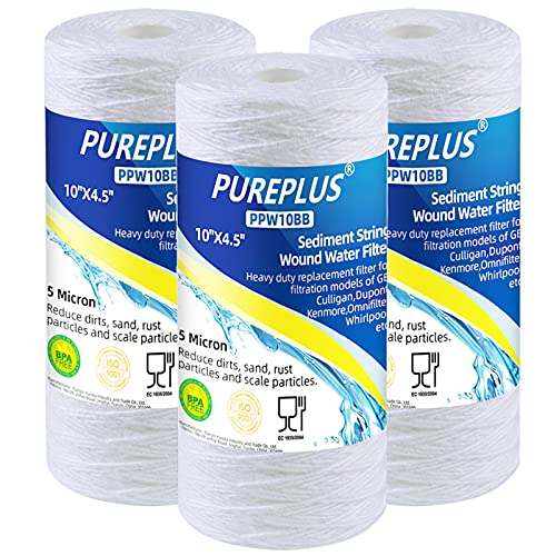 5 Micron 4.5' x 10' Whole House String Wound Sediment Filter for...
