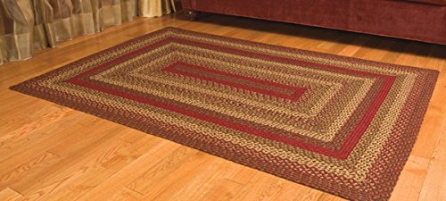 IHF Home Decor Cinnamon Braided Area Rug | Rectangle Farmhouse, Kitchen, Indoor, Outdoor Floor Carpet | Wine, Sage, Tan Hand Woven Natural Jute Fiber - 8' x 10'