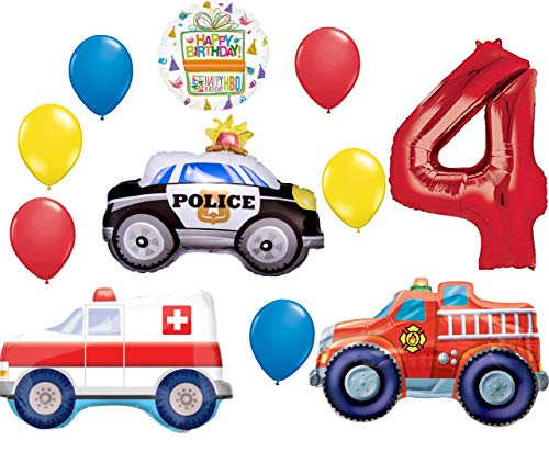 Team Rescue 4th Birthday Party Supplies and First Responders Balloon Bouquet decorations