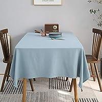 テーブルクロス ホーム和室風の生地コーヒーテーブル茶道カバータオルスクエアテーブルクロスシンプルな民族レストランのテーブルクロス (Color : Light blue, Size : 130*200cm)