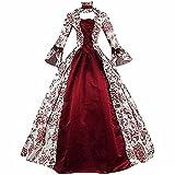 Vestido Victoriano Rojo Vestido de Baile Vestido Medieval Vintage Vestido Retro de Halloween Cosplay Vestido Largo con Cordones Traje renacentista Vestido Victoriano gótico para Mujer