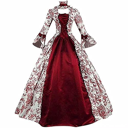 Mujeres Vintage Victoriano Bola Vestido rojo Vestido medieval Renacimiento Cosplay Disfraces de teatro Gótico Celta Irlandés con cordones Vestido de princesa Corsé Manga larga Falda de una línea