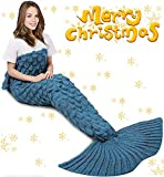Sky Adult Mermaid Tail Fish Scale Blanket, Super Soft Knit Sleep Blanket All Season Living Room Sleeping Bag Office Blanket Best Birthday Christmas Gift 71' x 35'