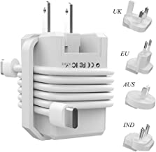 Roiskin USB C Wall Charger 18W Fast Charging Type C Power Adapter for Fire 10 iPhone iPad Google Pixel Samsung Galaxy, International Travel Charger Adapter for USA European UK India ect,White