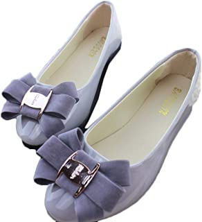 [WOOYOO] レディースシューズ パンプス 折りたたみ ぺたんこ靴 大きいサイズ エナメル リボン フラットシューズ 婦人靴 美脚 持ち運び 歩きやすい 柔らかい お洒落 クッション 甲浅 通勤 ブラック黒
