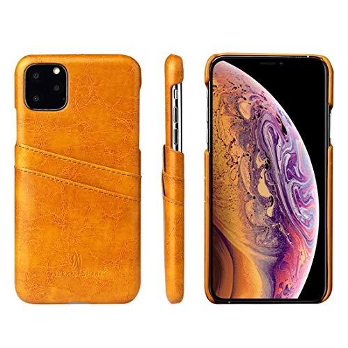 Wdckxy - Funda para iPhone 11 Pro (piel sintética, textura de cera al aceite, ranuras para tarjetas), color amarillo