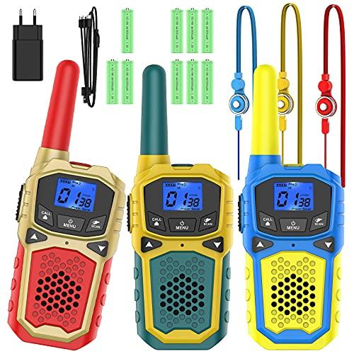 Walkie Talkie Niños Recargable con Cargadores USB 9 Bateria Recargable Walky Talky 3 Piezas 8 Canales 3KM Largo Alcance Función de VOX LCD Juguetes de Camping Senderismo