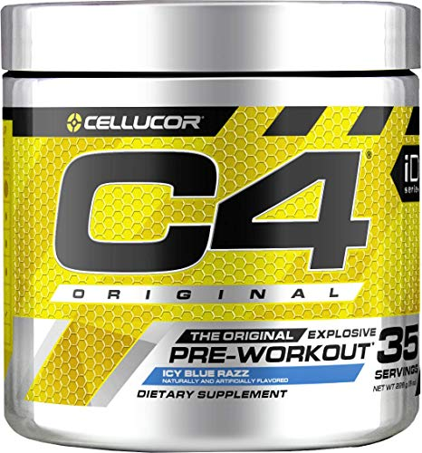 C4 Original Pre Workout Powder Icy Blue Razz | Vitamin C for Immune Support | Sugar Free Preworkout Energy for Men & Women | 150mg Caffeine + Beta Alanine + Creatine | 35 Servings