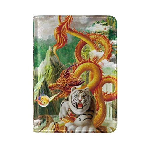 China Dragon Tiger Cloud Passport Holder Cover Wallet,RFID Blocking Card Case Travel Passport Organizer Protector