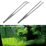 SHSH Pinzas curvadas de acero inoxidable para acuario, pinzas rectas y curvas, pinzas para acuario, plantas, camarones, arrecifes, tanque de peces, camarones, arrecifes (plata)