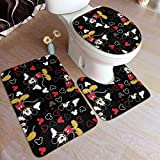 Juego de 3 alfombrillas de baño de Mickey Mouse, color negro, antideslizante, alfombrilla de contorno en forma de U y cubierta para tapa