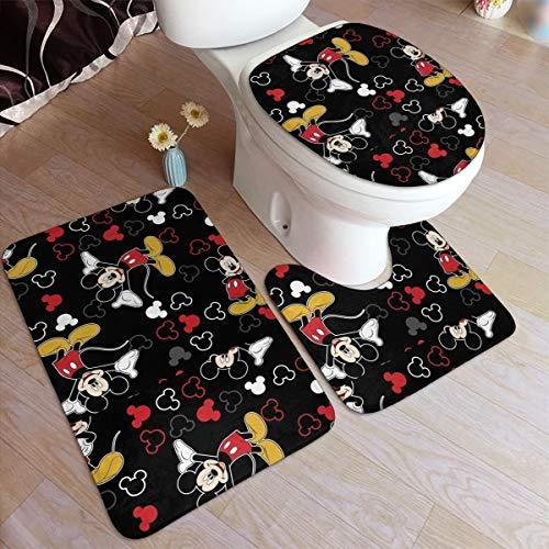 Juego de 3 alfombrillas de baño de Mickey Mouse negro antideslizante, alfombrilla de baño en forma de U y cubierta de tapa