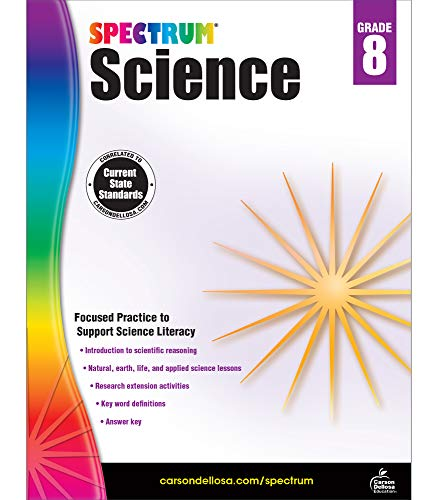Spectrum 8th Grade Science Workbook—Grade 8 State Standards, Physical, Life, Earth and Space Science, Research Activities With Answer Key for Homeschool or Classroom (176 pgs)